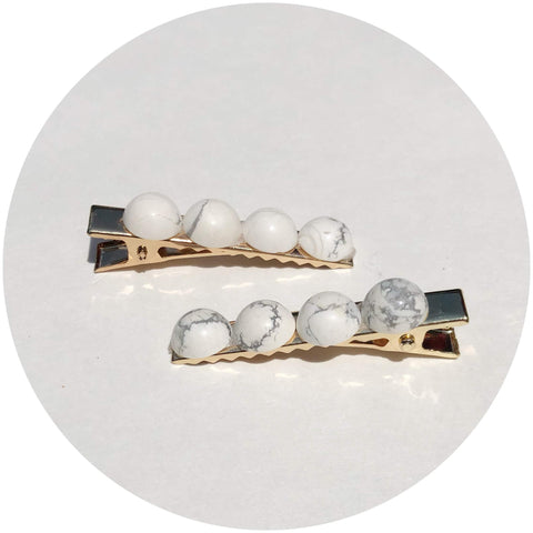 White Howlite Gemstone Hair Clips