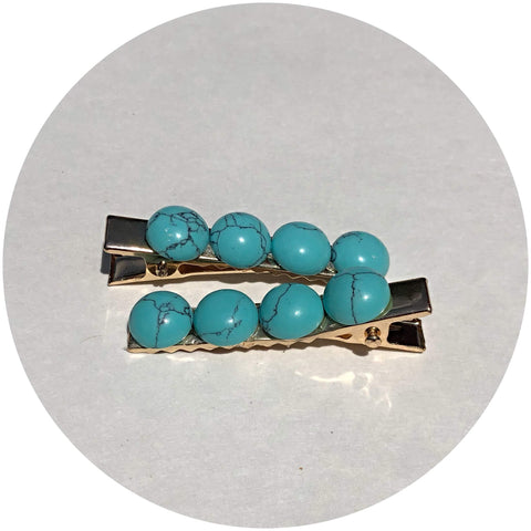 Turquoise Magnesite Gemstone Hair Clips