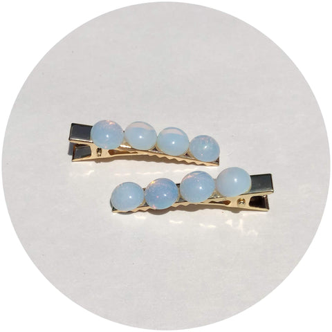 Opalite Gemstone Hair Clips