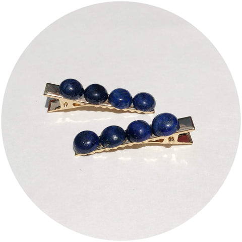 Lapis Gemstone Hair Clips