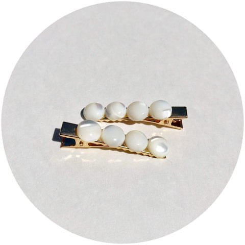 Mother of Pearl Gemstone Hair Clips