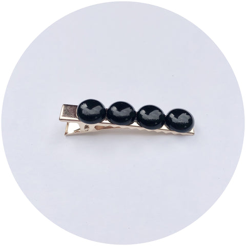 Black Onyx Gemstone Hair Clips