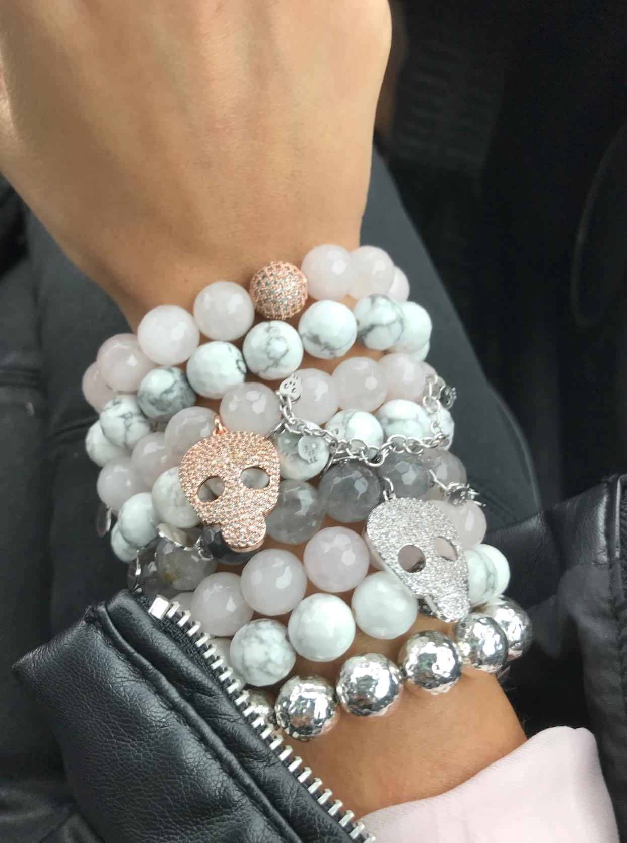 Grey Quartz with Pavé Silver Skull and Silver Skull Chain - Oriana Lamarca LLC