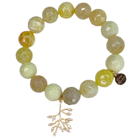 """Hope For Lino"" Yellow Agate with Pavé Olive Branch Pendant"