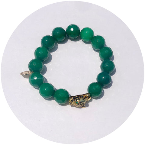 Emerald Green Jade with Pavé Tiger Head