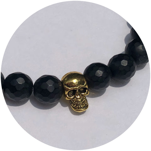 Mens Matte Black Onyx with Gold Skull