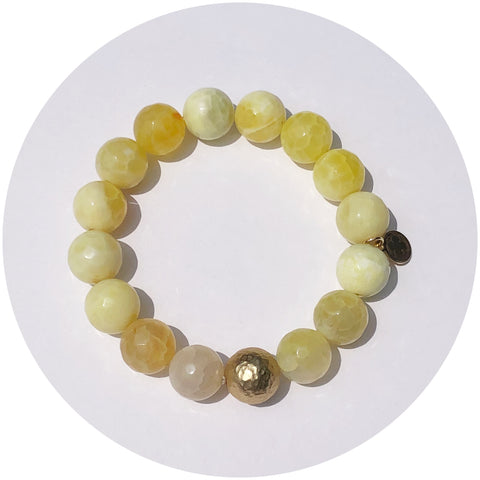 Yellow Agate with Hammered Gold Accent