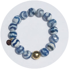 Tibetan Blue Wave Agate with Gold Hammered Accent - Oriana Lamarca LLC