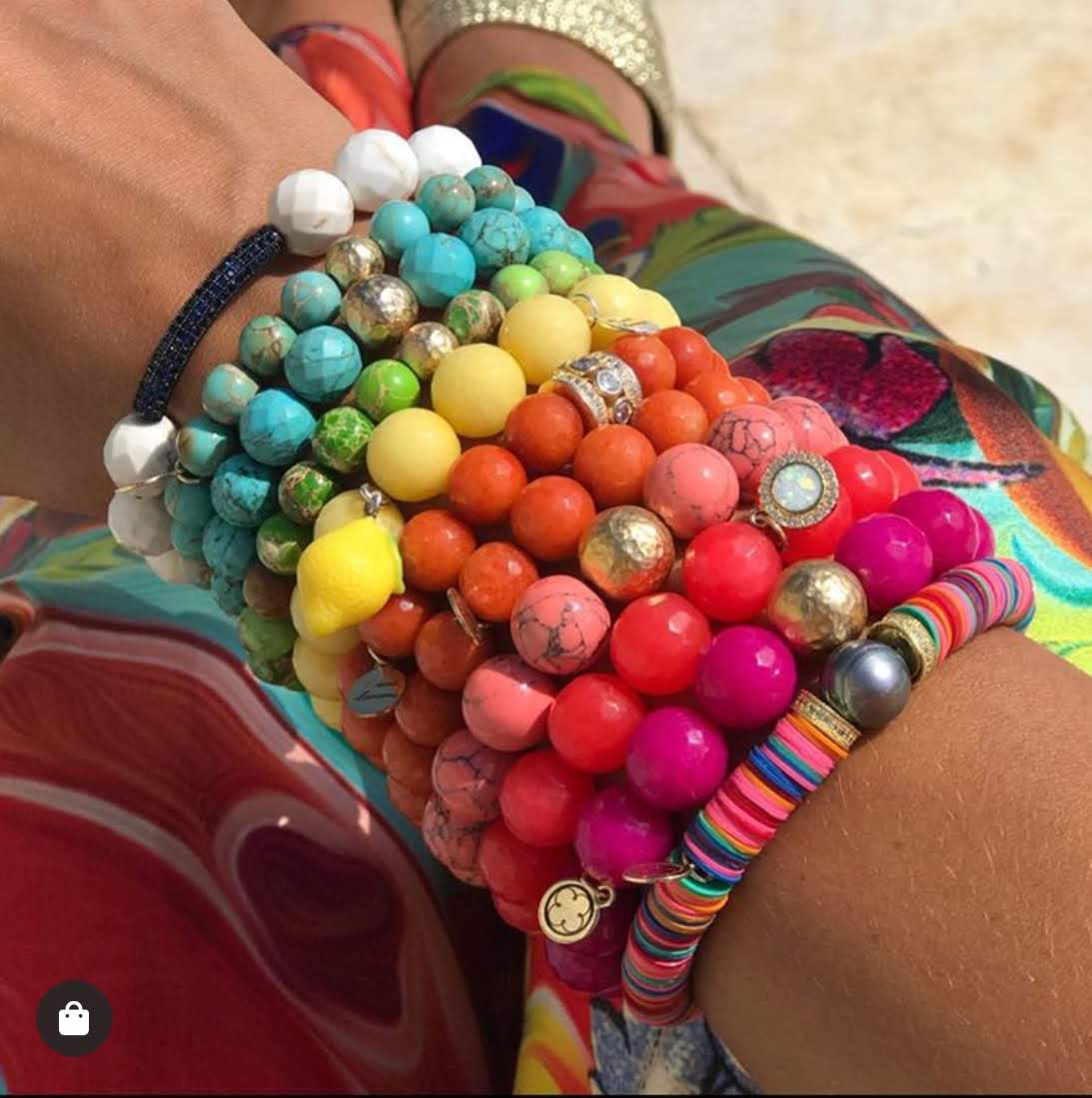Multicolor Vinyl Bead with Peacock Pearl - Oriana Lamarca LLC