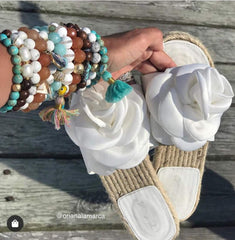 Tibetan White Zebra Agate with Multicolor Tassel and Turquoise Horn Pendant - Oriana Lamarca LLC