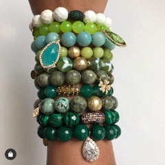 African Turquoise with Hammered Gold Accent - Oriana Lamarca LLC