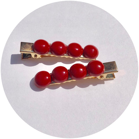 Red Riverstone Gemstone Hair Clips
