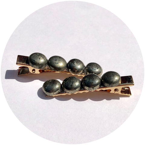 Pyrite Gemstone Hair Clips