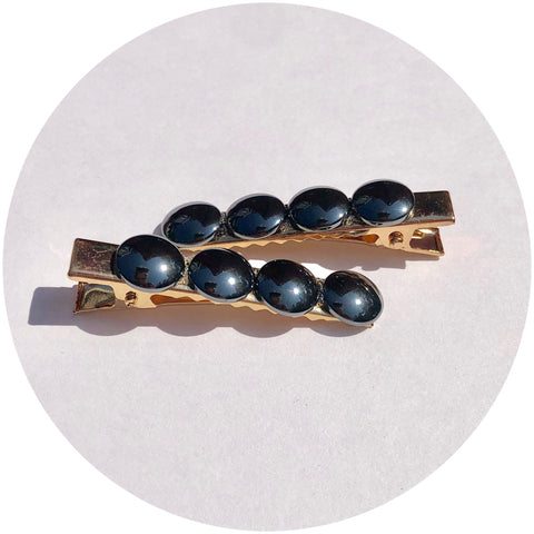 Hematite Gemstone Hair Clips