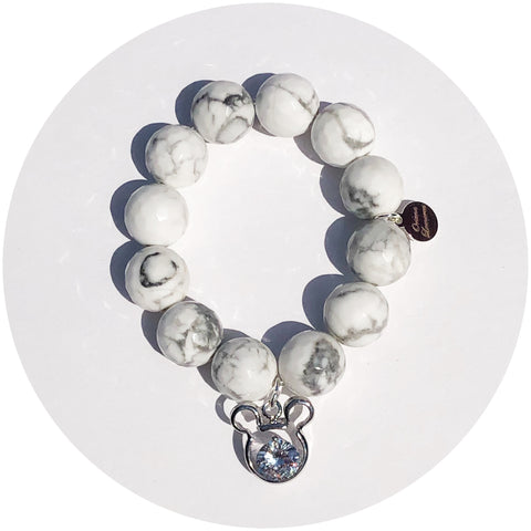 Children's White Howlite with Silver Pavé Mickey