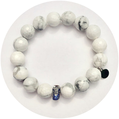 White Howlite with Blue Baby Shoe Accent Bead