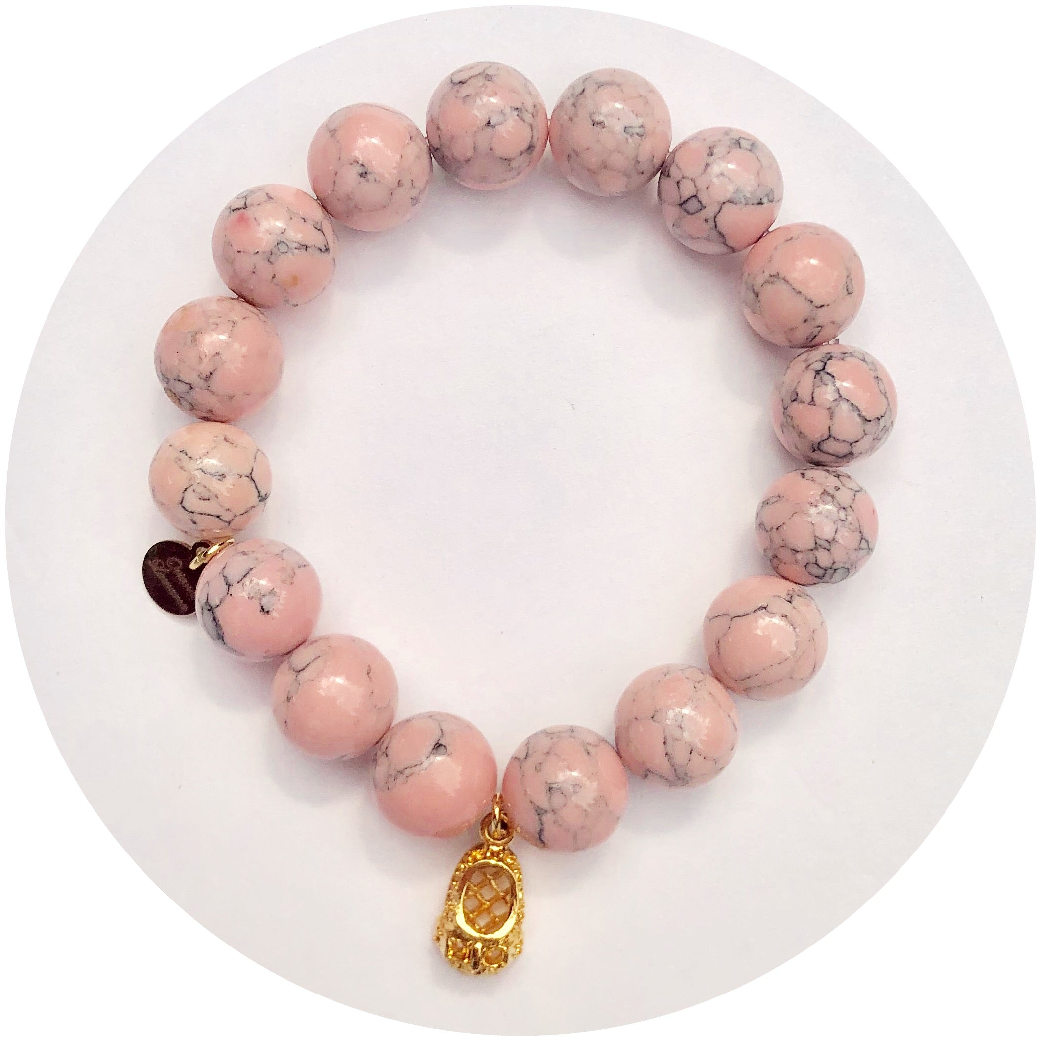 Light Pink Howlite with Baby Slipper Pendant - Oriana Lamarca LLC