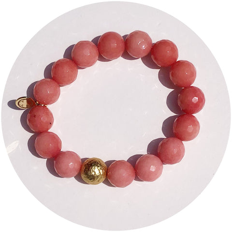 Rose Pink Jade with Hammered Gold Accent