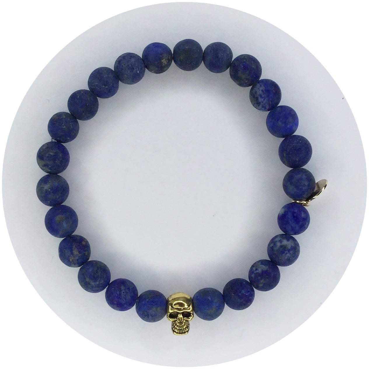 Mens Matte Lapis with Gold Skull - Oriana Lamarca LLC