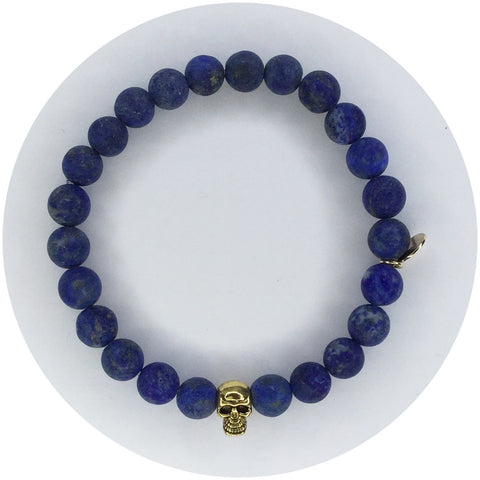 Mens Matte Lapis with Gold Skull