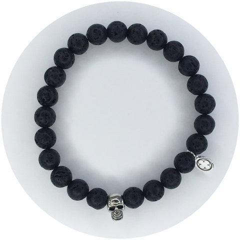 Mens Black Lava with Silver Skull