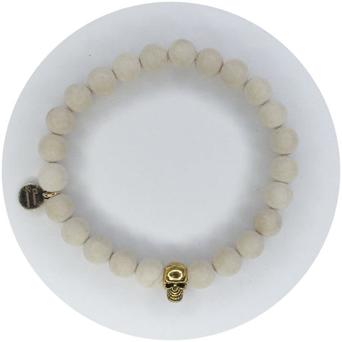 Mens Matte Beige Riverstone with Gold Skull