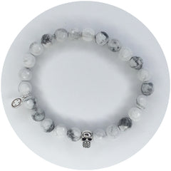 Mens White Howlite with Silver Skull