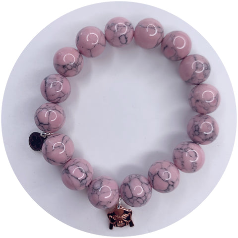 Light Pink Howlite with See No Evil Monkey Emoji Pendant