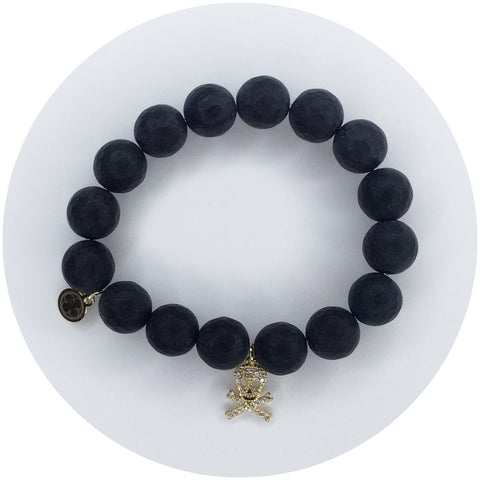 Children's Matte Black Onyx with Gold Pavè Skull and Bones Pendant
