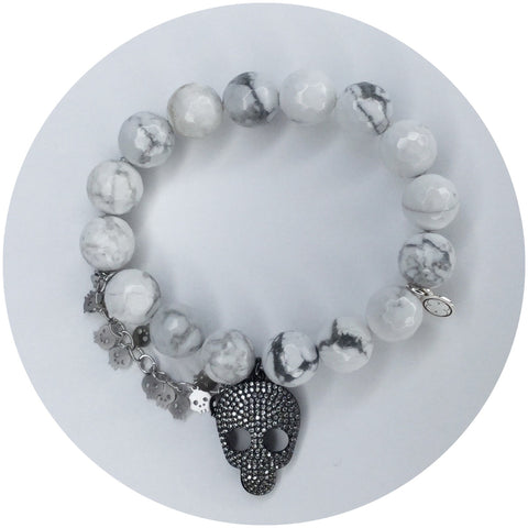 White Howlite with Pavé Gunmetal Skull and Silver Skull Chain