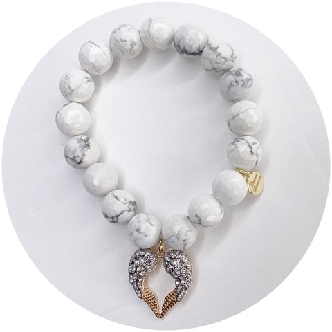White Howlite with Pavé Heart Angel Wings