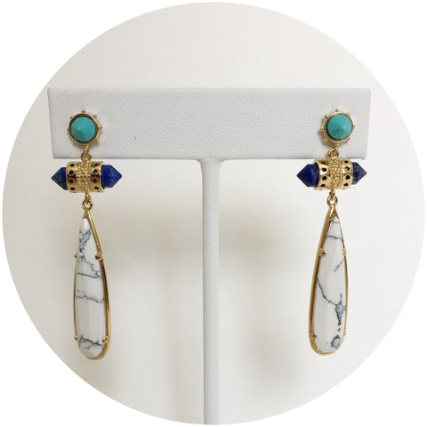 Vanessa White Howlite Gemstone Earrings