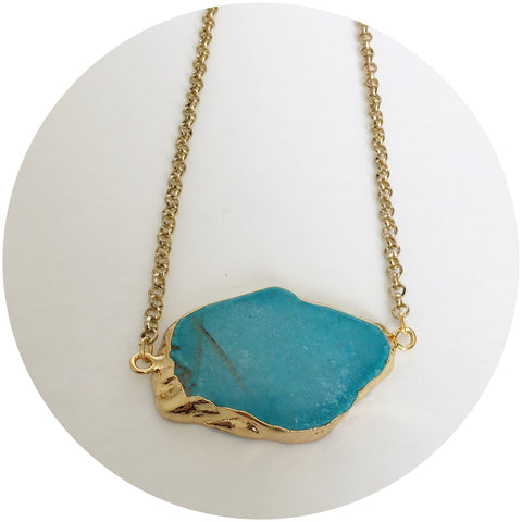 Turquoise Nugget Slab Gold Necklace