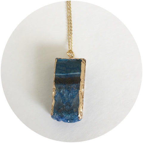 Lapis Square Nugget Gold Necklace