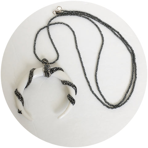 Hematite with Pavé White Crescent Moon Necklace