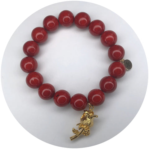 Red Riverstone with Gold Enchanted Rose