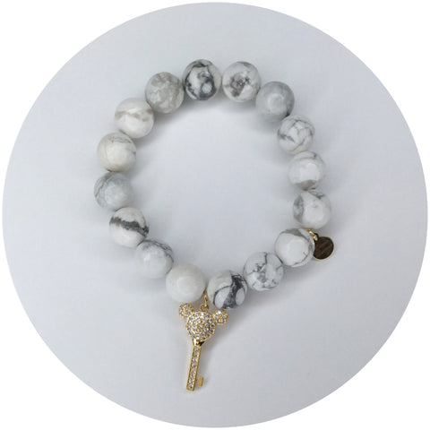 White Howlite with Gold Pavé Mickey Key