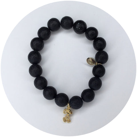 Matte Black Onyx with Gold Pavé Snoopy