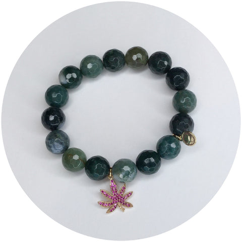 Moss Green Jade with Pavé Marijuana Leaf