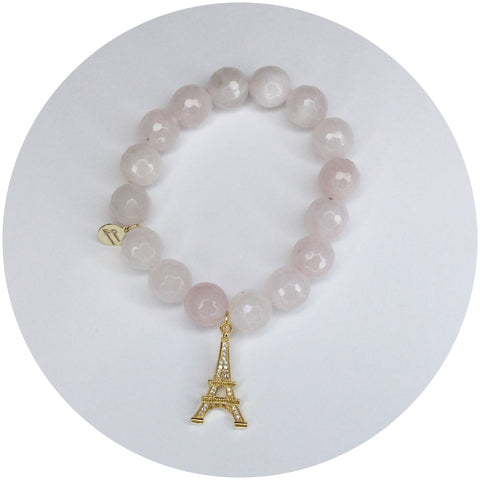 Rose Quartz with Gold Pavé Eiffel Tower