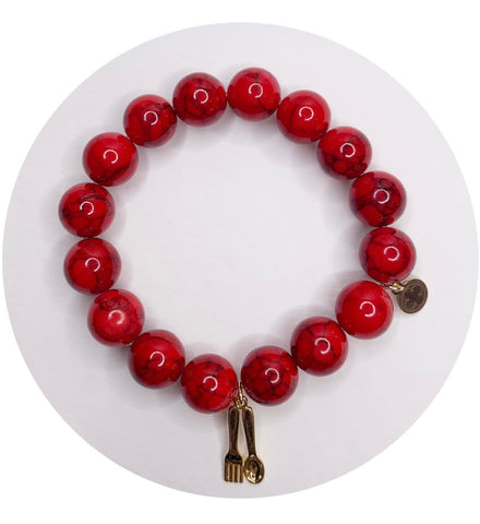 Barstool Sports Fund Red Riverstone with Fork and Spoon Pendant