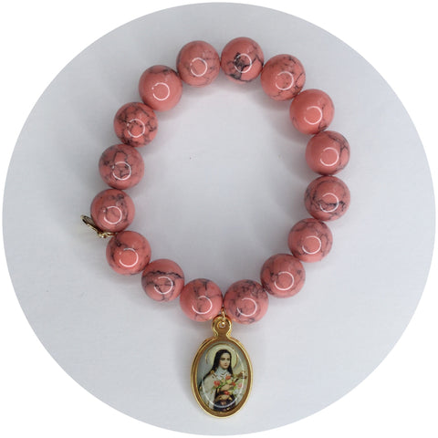 Coral Pink Howlite with St. Teresa Pendant