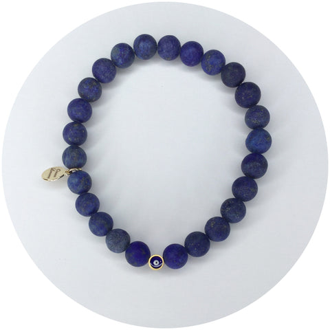 Mens Matte Lapis with Evil Eye Accent