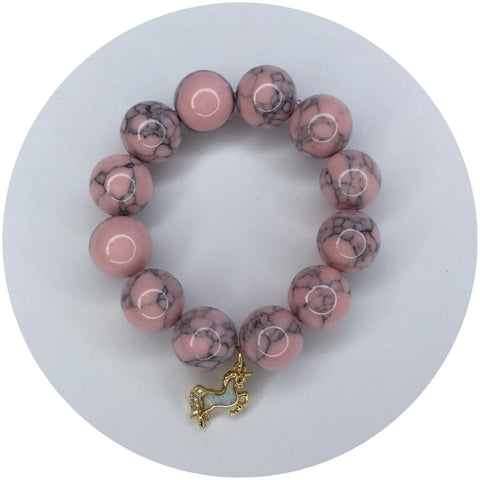 "Children's ""Be Yourself, Unless You Can Be A Unicorn"" Light Pink Howlite"