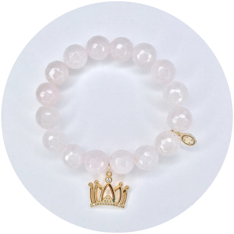 Rose Quartz with Pavé Crown