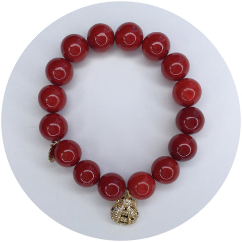 Children's Red Riverstone with Pavé Lady Bug Pendant
