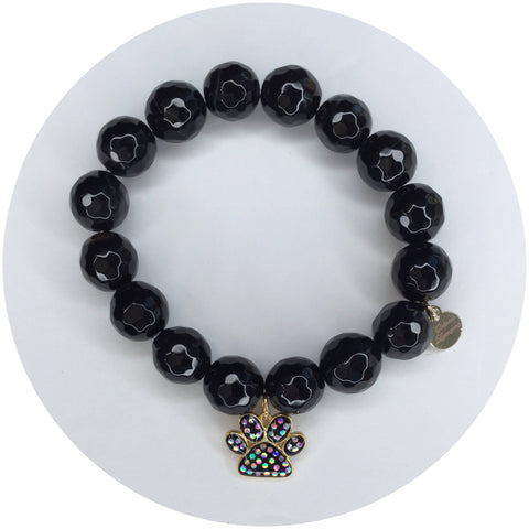 Black Onyx with Opal Paw Print