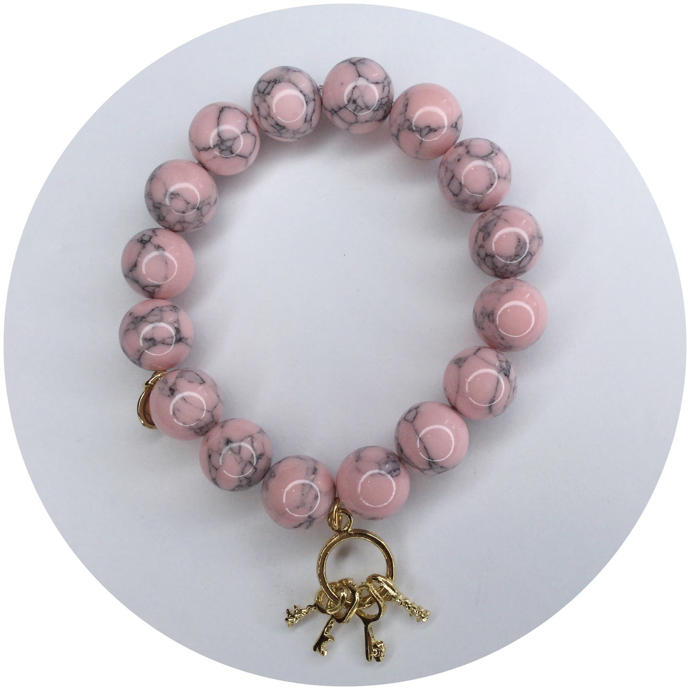 Light Pink Howlite with Gold Keys - Oriana Lamarca LLC