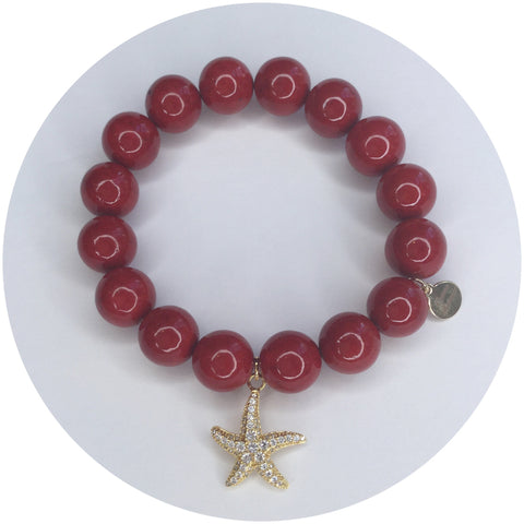 Red Riverstone with Gold Starfish Pendant