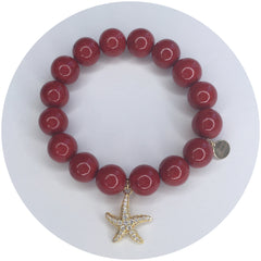 Red Riverstone with Gold Starfish Pendant - Oriana Lamarca LLC